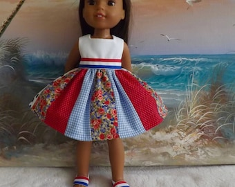 """14 and 14.5"""" Doll Dress Red White and Blue Medley V1 OOAK Fits dolls like H4H and Wellie Wishers"""