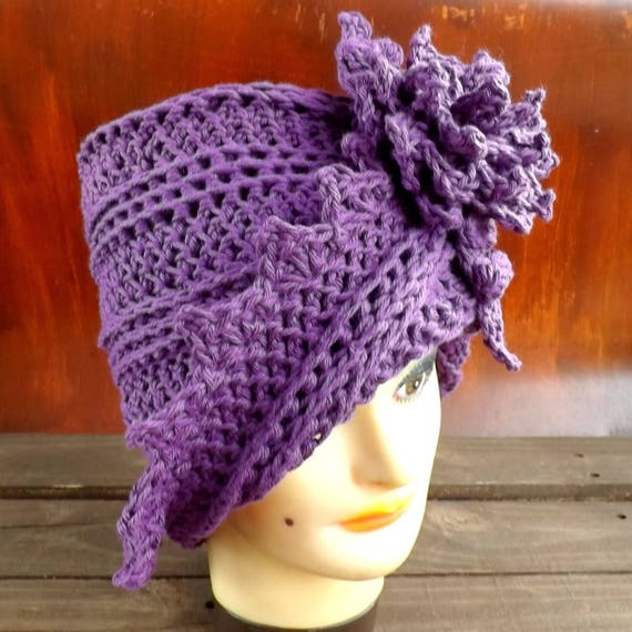 Crochet Pattern Flower Hat Pattern Flower Pattern, Crochet Hat Pattern Crochet Hat Flower, Cloche Hat Pattern with Flower, Lauren Hat