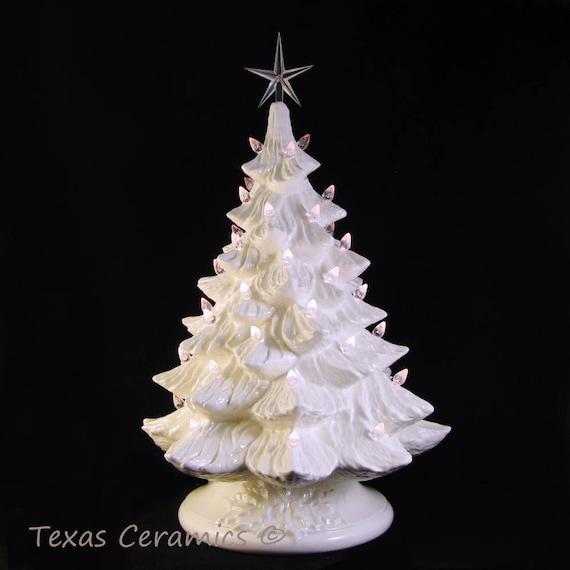 White Ceramic Christmas Tree With Lights