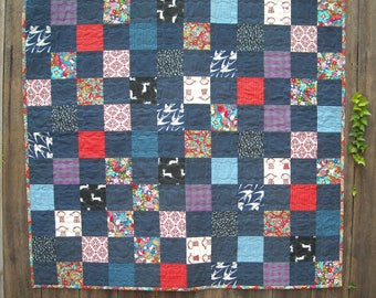 Baby Girl Quilt -  Baby Boy Quilt - Denim Baby Quilt - Patchwork Crib Quilt - Gender Neutral - Unisex