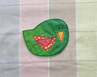Perky Bird Patch, Appliquéd Embroidered Badge, Green Ombre