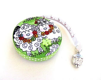 Tape Measure Curly Sheep on Lime Green Retractable Measuring Tape