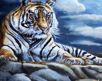Wildlife Art Print - Bengal Tiger Painting - Wildlife Art Canvas and Poster Prints