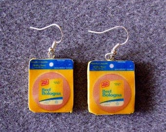 Oscar Mayer Beef Bologna Retro Kitsch Dangle Polymer Clay Junk Food Earrings Hypo Allergenic Nickle-Free