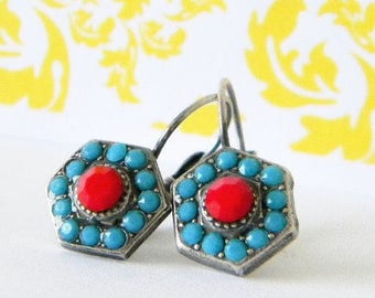 Antique Silver Turquoise Cherry Red Victorian Style Leverback Earrings