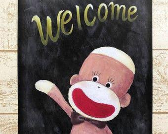 Welcome Sock Monkey Poster - A4, Shabby-chic chalkboard sign, Sock Monkey Print, Chalk Art Print