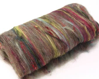 Carded Batt Variety of Wool and Silks 100g OOAK16
