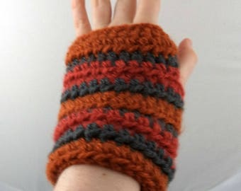 Oranges and Gray Striped Crocheted Wrist Warmers (size M-L) (SWG-WW-MJ18)