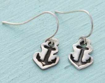 ON SALE ANCHOR Hook Earrings -  sterling silver posts handmade and illustrated by Chocolate and Steel