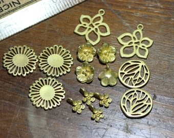 Gold Charms Matte Yellow Gold Flower Charms Assortment Mix