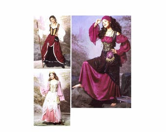 Simplicity 9966 Steampunk Gypsy Fortune Teller Maiden Renaissance Historical Costume Sewing Pattern Size 14 - 16 - 18 - 20 UNCUT