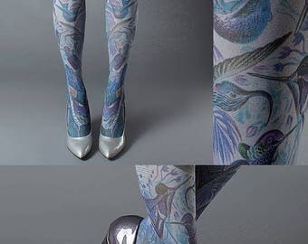 SALE///endsAug22/// Exotic Birds Closed Toe grey one size full length printed tights, pantyhose, nylons, tattoo socks, tattoo tights