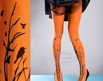 SALE///endsAug22/// Tattoo Tights -  orange one size Forest Symphony full length closed toe printed tights pantyhose, tattoo socks, printed
