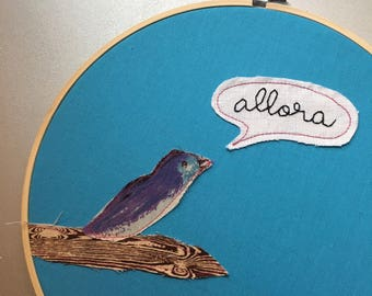 Allora  - hand embroidered Master of None inspired wall hanging with bird applique
