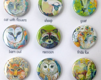 Animal Art Pin Back Button Flair, choose from 9 designs, 1.25 in, by Jenlo