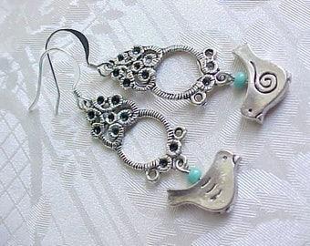 Blue Bird Earrings Bird Charm Earrings Silver Bird Earrings Casual Earrings Shabby Chic Earrings Boho Earrings Women Birthday Gift Mori Girl