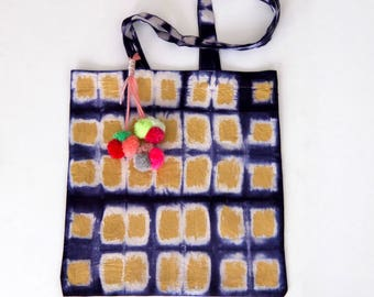 Shibori tote bag with pompons, indigo tote bag, Blue and white tote bag, hand dyed cotton tote, naturally dyed, market bag