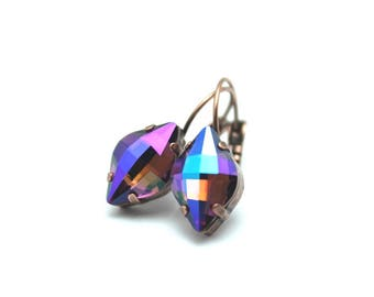 Purple Crystal Drop Earrings Sparkling Violet Tanzanite Burgundy Blue Orange Rainbow Fancy Lemon Marquise Swarovski Autumn Fall Summer