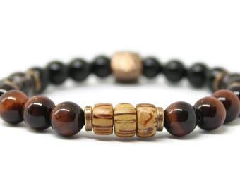Unisex gemstone Stretch Bracelet / Red Tigers Eye, Black Onyx, Smokey Quartz, Bronze, Copper, spiritual healing, yoga,mala, Holistic Healing