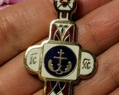Big Sale Large Vintage Estate Gold Tone Enamel Orthodox Cross Pendant Religious Jewelry