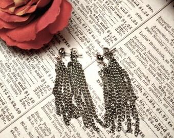 SALE TODAY 1960s Vintage Long Chandelier Earrings Silver Chain Tassel Jacket Earrings Pierced Mod