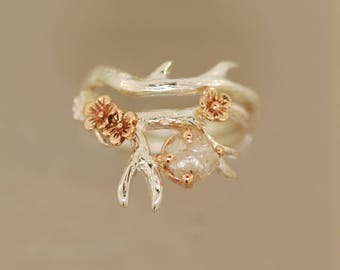 Antler Ring 2 with flowers, cherry blossom ring, rough diamond ring,alternative engagement ring, twig ring, twig diamond ring, antler ring