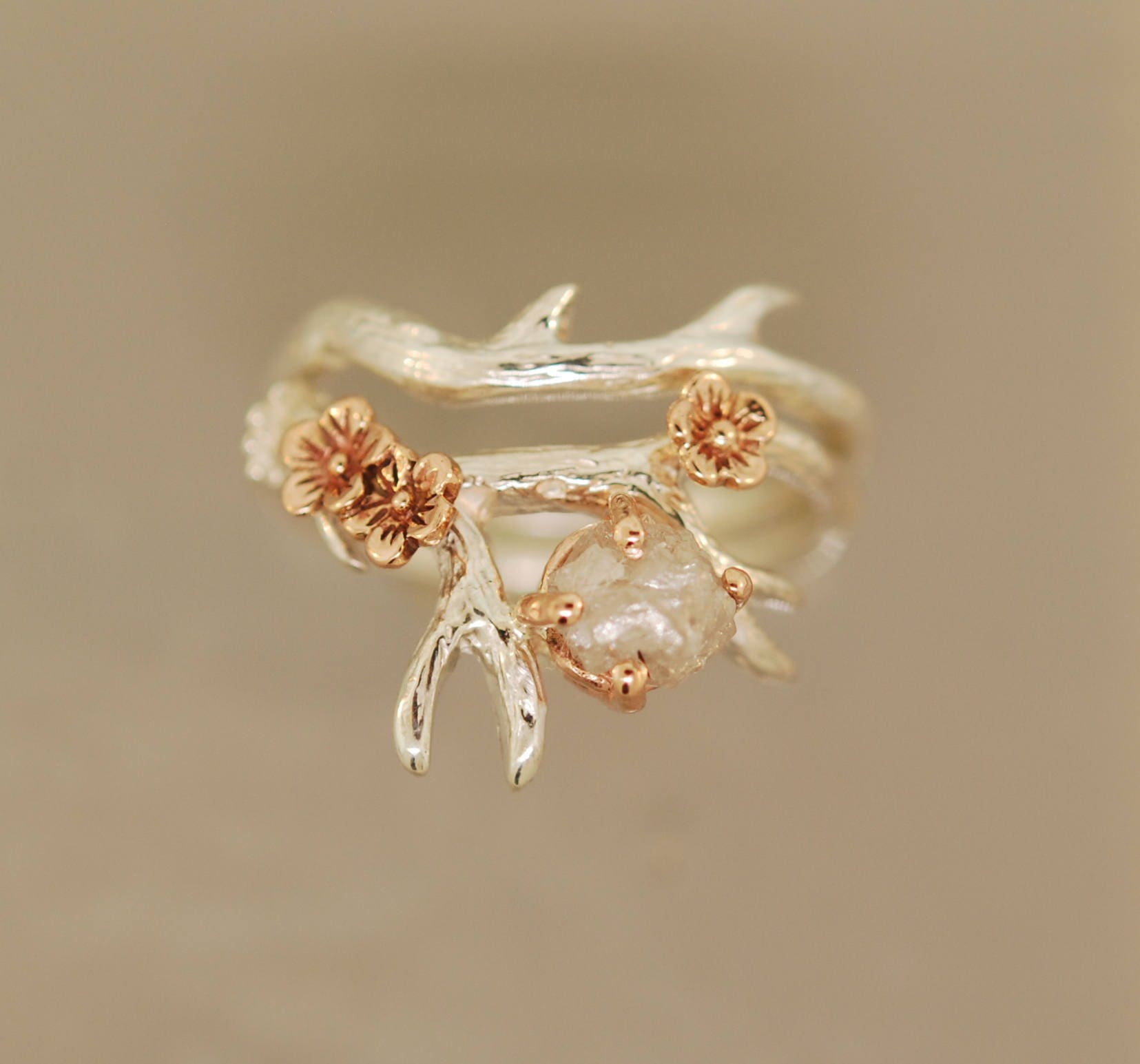 Antler Ring 2 with flowers cherry blossom ring rough diamond