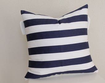 """Couch throw pillow Cover, Invisible zipper, closure, Navy Blue Stripe. 18"""" square, Home decor, cushion, twill fabric front and back"""