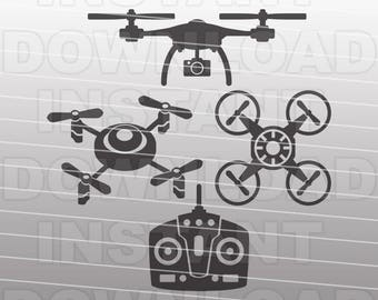 Drone SVG File,Quadcopter SVG File,Quad SVG File-Vector Clipart Cut File for Commercial & Personal Use-Cricut,Cameo,Silhouette,Vinyl,Decal