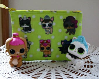 LOL Surprise Doll Zipper Clutch, Party Favor, Coin Clutch, LOL Surprise Doll Pouch, Stocking Filler in Chartreuse