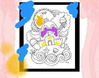 Fun summer sea ocean coloring page printable instant download