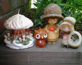 Vintage Hallmark NOS Candle Lot of 4 - Retro Woodland Mushroom Bunnies Owl + Holly Hobbie Style Girls w/ Big Bonnets Kitschy Home Decor Gift