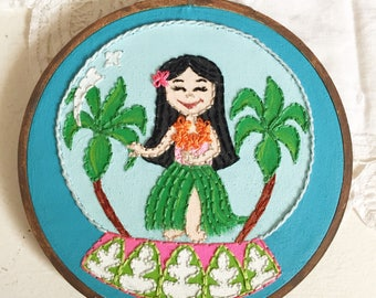 Embroidered Art Hoop - Disney It's A Small World Hula Girl