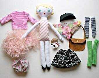 Parisian Dress Up Blonde Hair Doll - French - Dolly - with clothing - Beautiful - Set - Heirloom - Doll Clothing - Pink
