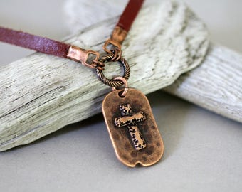Woman's Leather Cord Antiqued Copper Cross Necklace, Religious Necklace, Affirmation Necklace, Mother's Day, Religious Jewelry