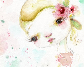 Baby Rosette - art print by Mindy Lacefield