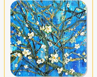 Cherry Blossom Original Artwork  Stickers Sheet of 20 Personalized Modern Customize Unique Gift Van Gogh Inspired Almond Blossoms