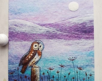 Owl in Winter Printed Greetings Card