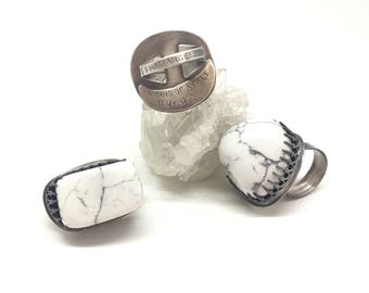 Statement ring howlite ring big ring large ring giant ring sterling silver ring quote ring