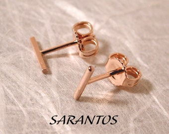 Susan Sarantos 7mm x 1mm Solid 14k Rose Gold Bar Stud Earrings
