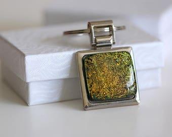 Gold n Black Key Ring Dichoric Glass Key0011, Key Fob, Keyring, Keychain, Accessories, Fused Glass, Getglassy