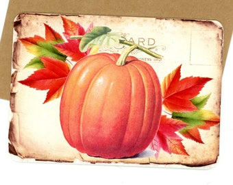 Pumpkin Flat Cards, Fall Note Cards, Fall Leaves Cards, Rustic Note Cards, Vintage style, Autumn Cards, Bluebird Lane Cards, Orange Notes