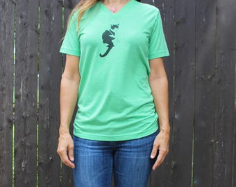 V Neck Cat Tee Green  XS, S,M,L,XL