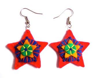 RED STAR EARRINGS textile art - summer picks - accessories