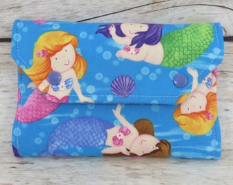Cute Mermaids Fabric | Crayon Wallet Stowaway Take Along Holder  | Organizer | Keeper | Art Kit | Personalized Name Tag Applique Available