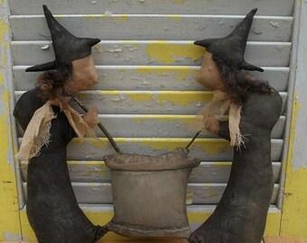 CustomerAppreciationSale Primitive Halloween Witches Stir Cauldron