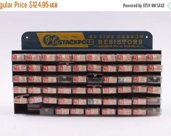 GC Stackpole Antique Store Display 60 Line Carbon Resistors Collection - With Resistors! ~ The Pink Room ~ 161007