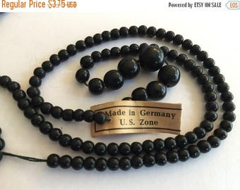 SALE 15% off Vintage bead strand glass jet black opaque graduated beads tagged west Germany 16 inches 9mm to 4mm rounds 110 beads
