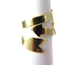 Gold Plated Arrow Adjustable Engraving Ring Findings (2X) (J608-C)