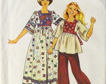 1970s Vintage Sewing Pattern Simplicity 6001 Girls Caftan Pattern in Two Lengths Size 8 Breast 27